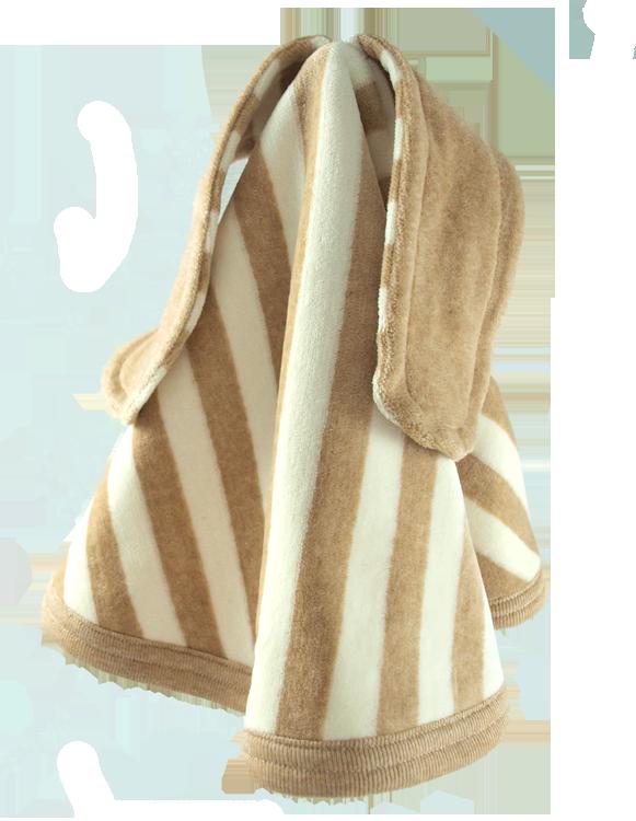 Minimundus snuttefilt av 100% ekologisk Coloured by Nature färgväxande ekobomull rand brun natur