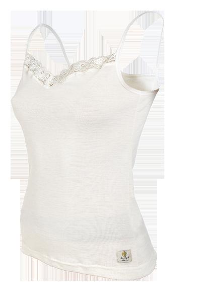 Janus linne med spets smala axelband 100% merinoull ullvitt