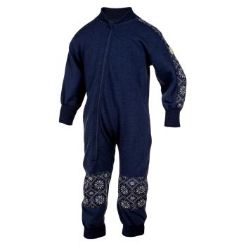 Janus barn jumpsuit overall 100% merinoull marinblå