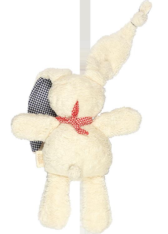 Keptin Jr Tjumm kanin ekologisk bomull blårutiga öron rödrutig sjal