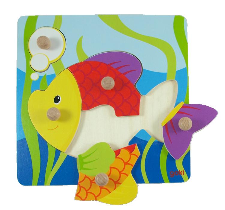 Knoppussel fisk 5 bitar av trä GOKI