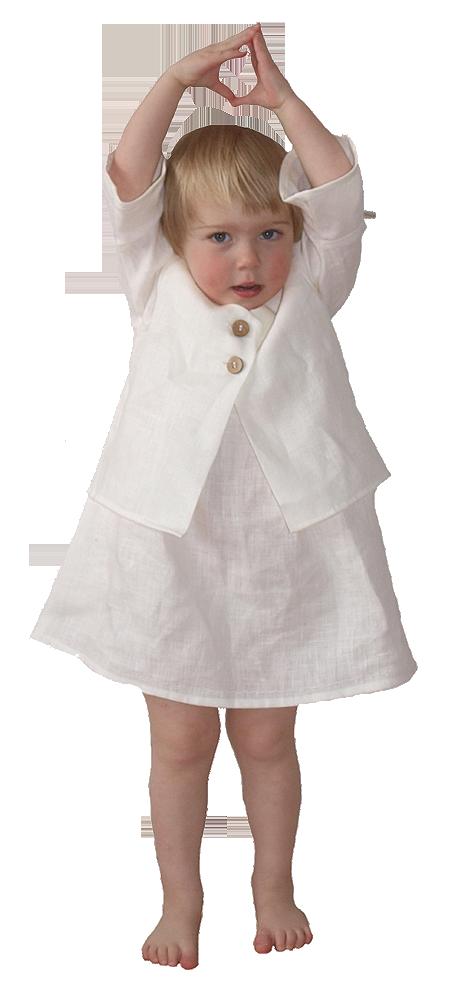 Jacka och klänning med knyt på axeln 100% lin vit