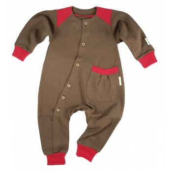 Tim&Teja overall jumpsuit 100% ekologisk bomull ekologiskt färgad brun med röda detaljer