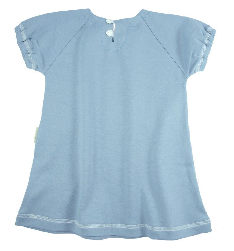 Tim&Teja klänning kort ärm 100% ekologisk bomull ekologiskt färgad ljusblå