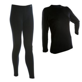 Janus BlackWool dam underställ tröja och långkalsonger 100% merinoull svart