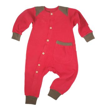 Tim&Teja overall jumpsuit 100% ekologisk bomull ekologiskt färgad röd med bruna detaljer
