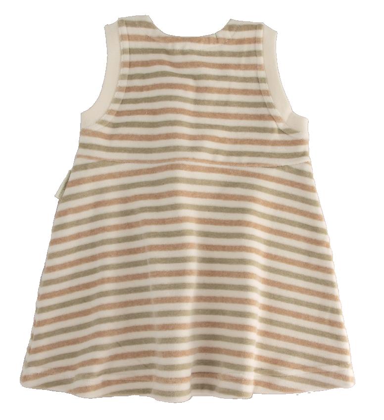 Minimundus klänning av 100% ekologisk bomullsvelour färgväxande Coloured by Nature grön brun natur