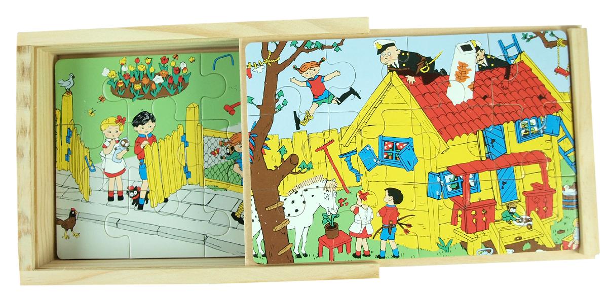 Fyra pussel av trä i låda Pippi of Today