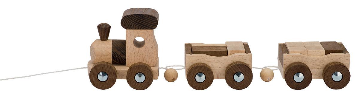 Tågset av narufärgat trä lok och två vagnar GOKI