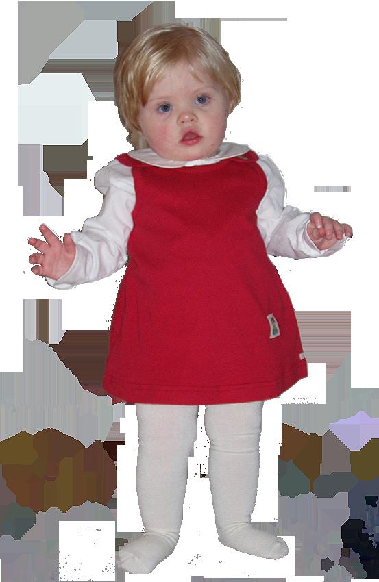 Minimundus blus av ekologisk bomull vit samt Tim&Teja hängselklänning röd 100% ekologisk bomul