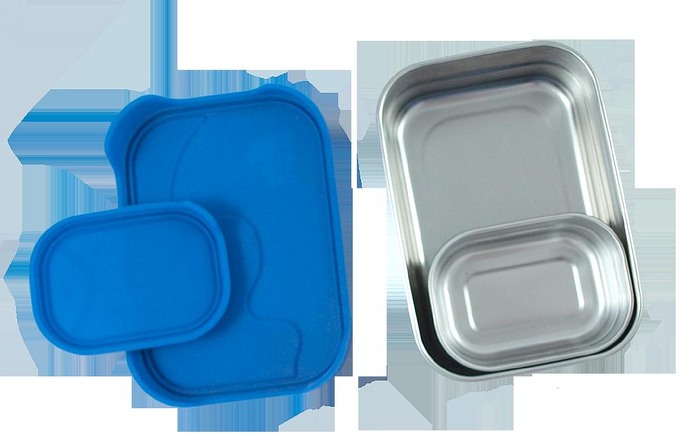 ECOLunchbox splashbox och Splash Pod rostfritt stål läckagesäkert lock av livsmedelsgodkänd silikon 800 och 230 ml
