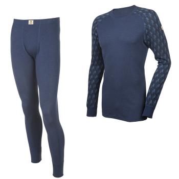 Janus DesignWool herr underställ 100% merinoull långkalsong och tröja med lång ärm mörkblå