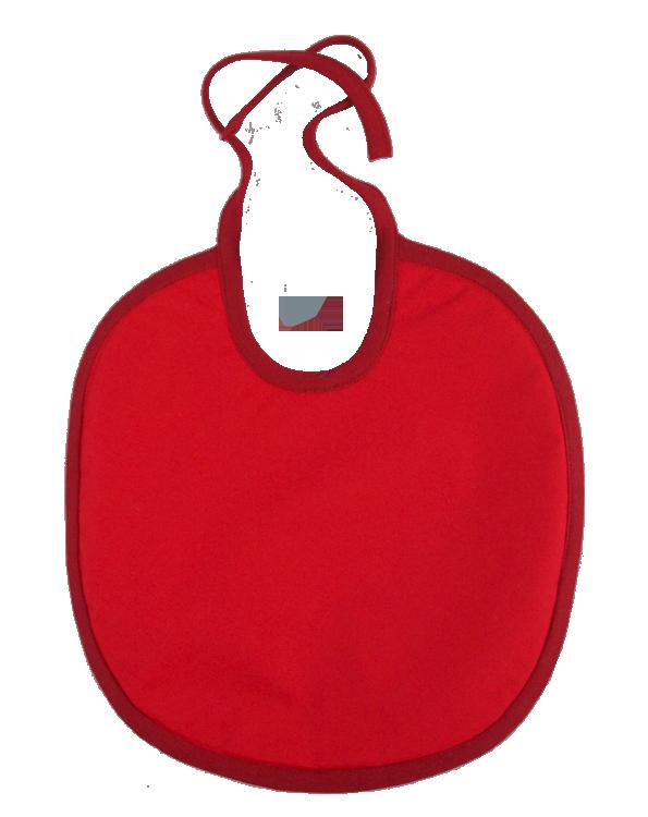 Haklapp med fuktspärr ekologisk bomullsfrotté röd/oblekt
