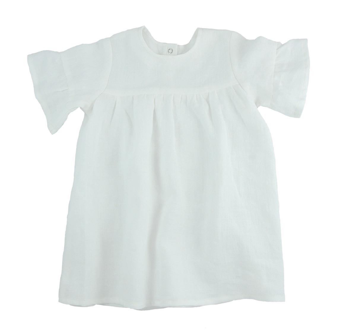 Minimundus klänning med kort ärm 100% ekologiskt lin vit