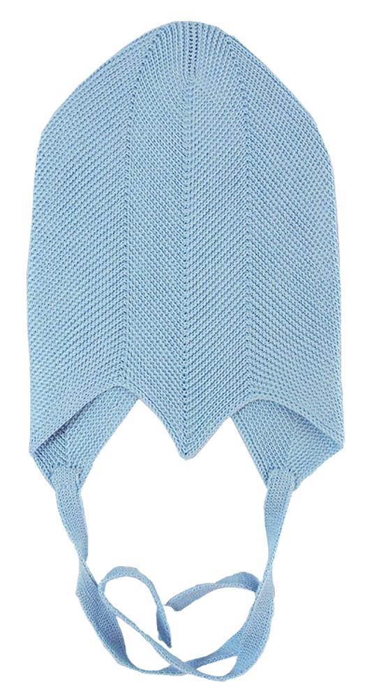 Solius mössa av stickad silke blå