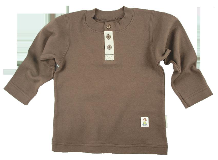 Tim&Teja farfarströja med linnedetalj 100% ekologisk bomull ekologiskt färgad brun