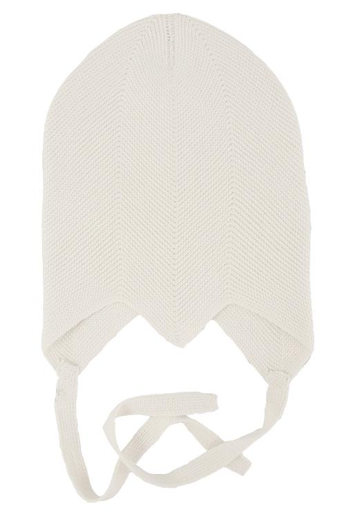 Solius mössa med knyt stickad 100% silke naturvit