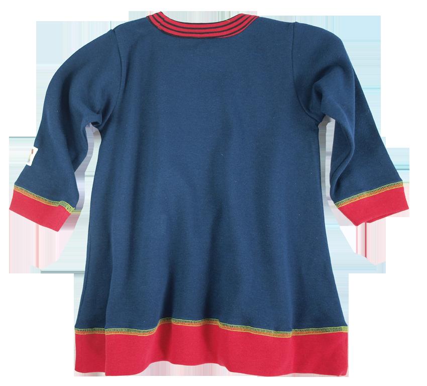 Tim&Teja tunika klänning 100% ekologisk bomull ekologiskt färgad marinblå