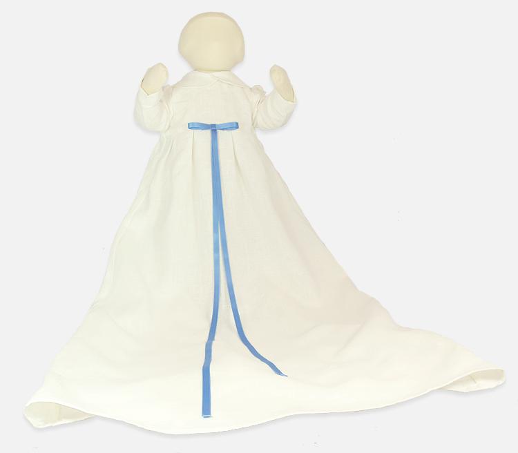 Minimundus dopklänning ekologiskt lin vit med ljusblå band