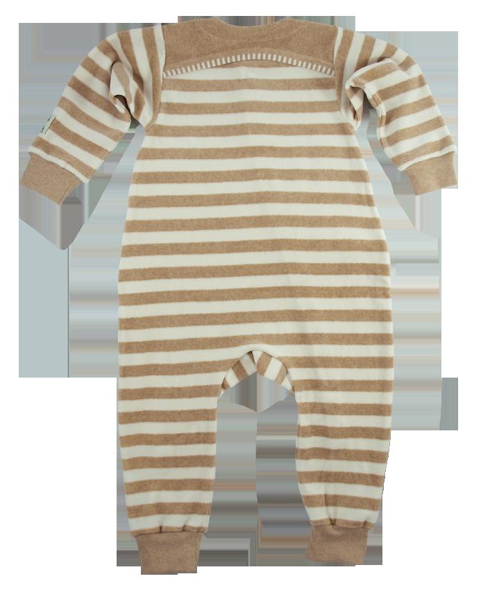 Minimundus jumpsuit overall färgväxande 100% bomullsvelour Coloured by Nature rand brun natur