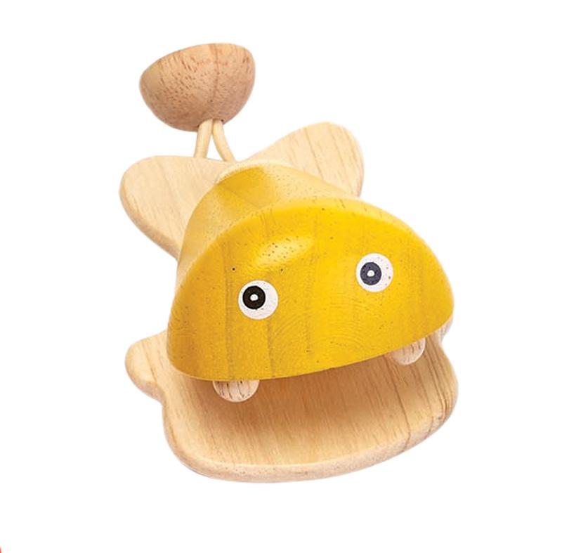 Kastanjett av gummiträ gul PlanToys