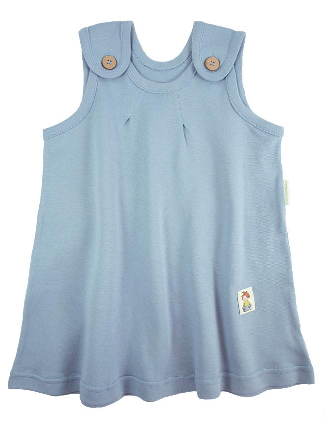 Tim&Teja hängselklänning ljusblå 100% ekologisk bomull