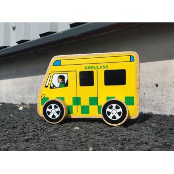 Ambulans av gummiträ handgjord FairTrade Lanka Kade