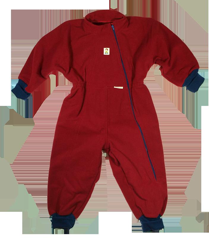 Minimundus overall 100% merinoull fleece röd