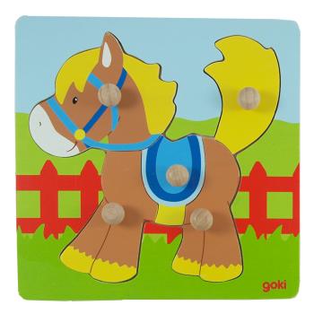Knoppussel häst 5 bitar av trä GOKI