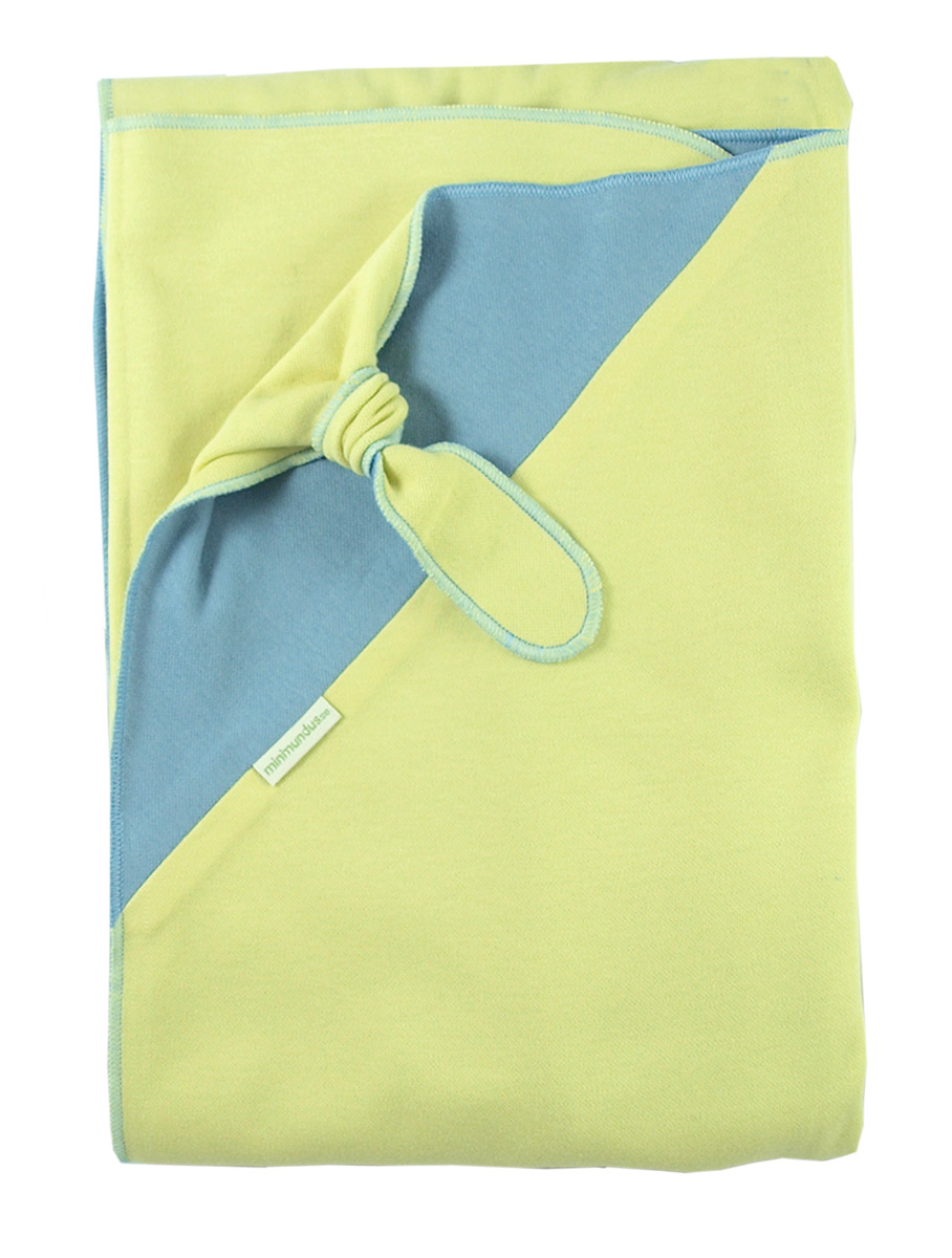 Minimundus ekologisk babyfilt med snuttehörn ljusblå gul