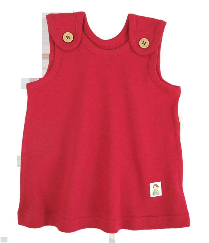 Tim&Teja babyklänning 100% ekologisk bomull ekologiskt färgad röd