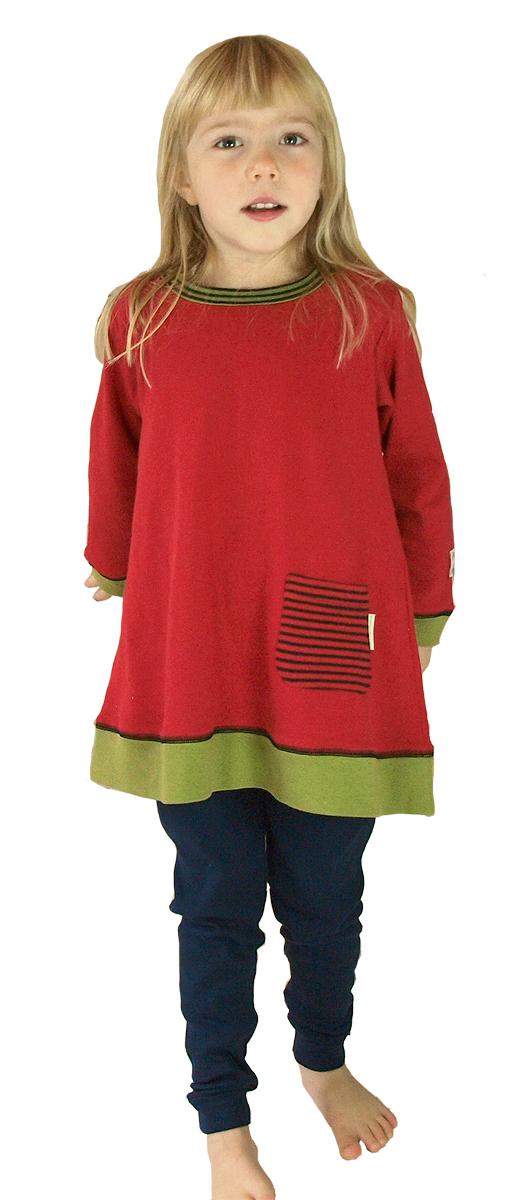 Tim&Teja tunika klänning röd leggings marinblå ekologiskt färgad ekobomull