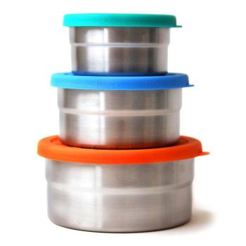 Seal Cup Trio matlådor av rostfritt stål läckagesäkert lock av livsmedelsgodkänd silikon 3-pack