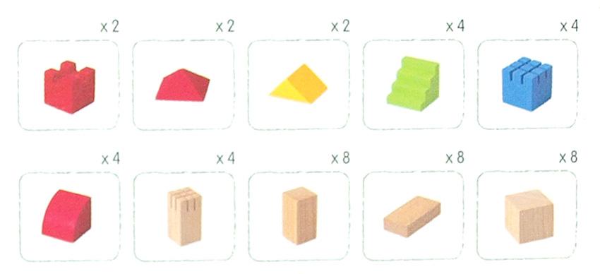 Creative Blocks Borg gummiträ PlanToys 46 delar