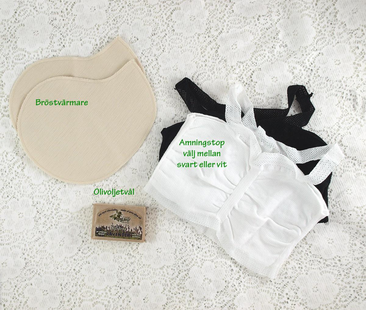 Minimundus lilla amningspaket bröstvärmare, tvål och amningstop