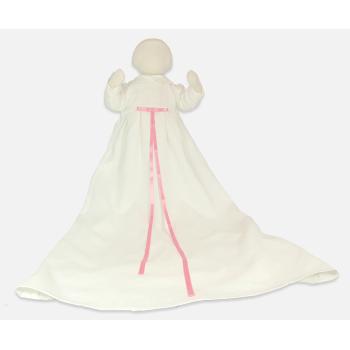 Minimundus dopklänning ekologiskt lin vit med rosa band