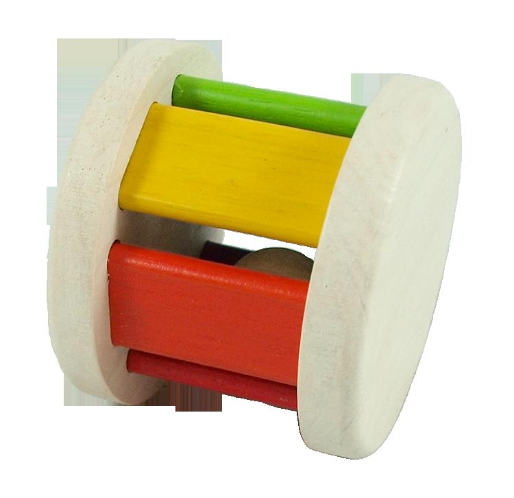 Babyskallra Roller gummiträ glada färger PlanToys