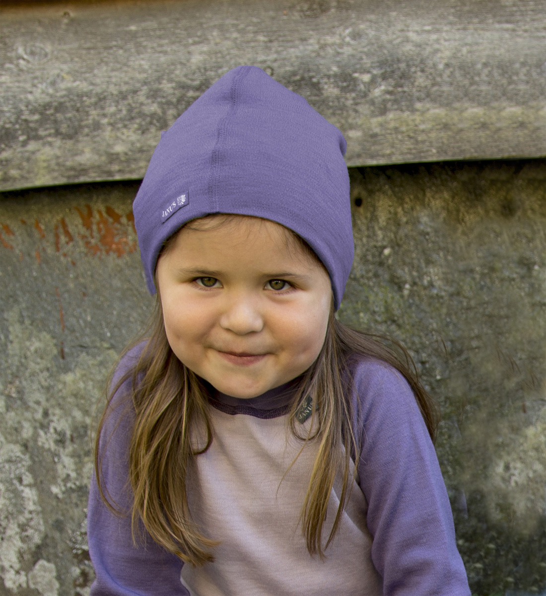 Janus beanie barn lila merinoull