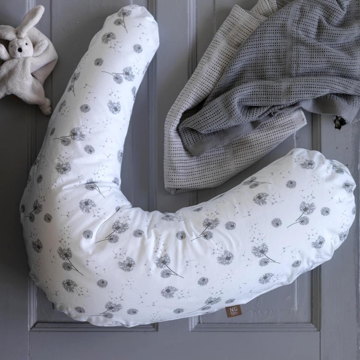 13034 Amningskudde överdrag av 100% ekologisk bomull NG-baby Dandelion vit grå
