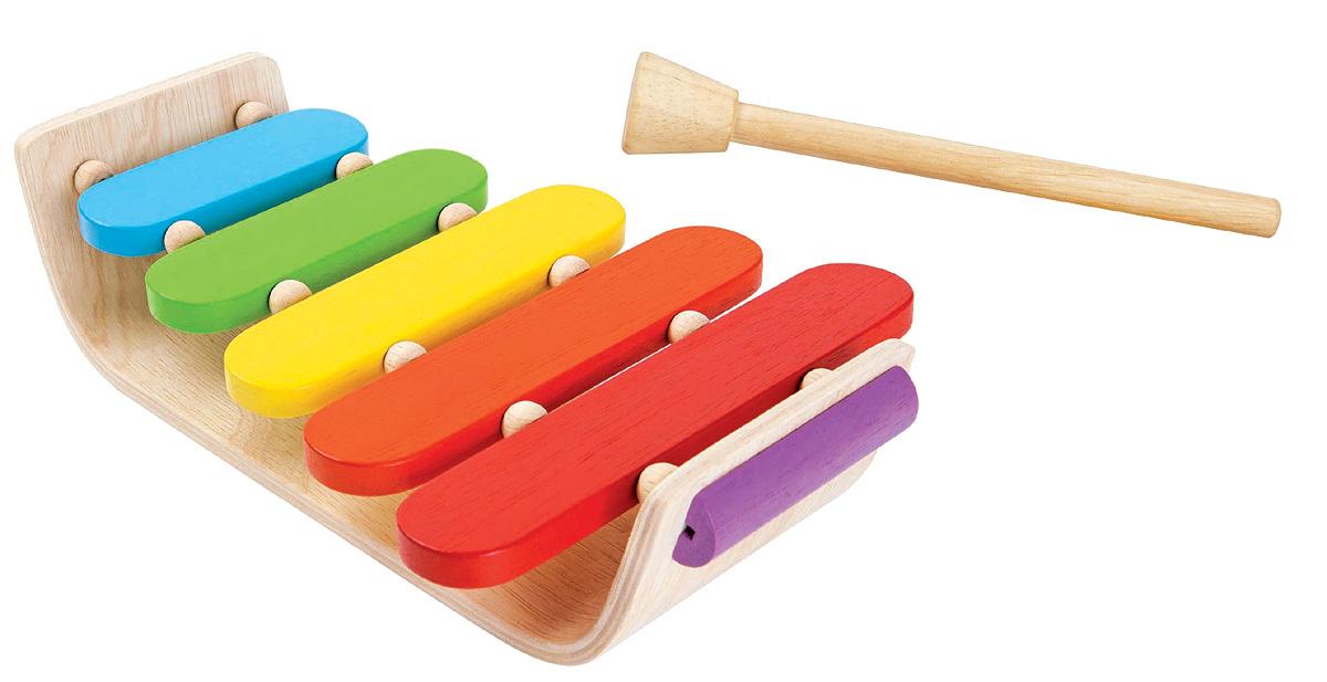 Xylofon av gummiträ 5 klangbrädor PlanToys