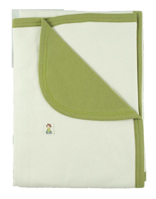 Minimundus babyfilt 100% ekologisk bomull ekologiskt färgad grön natur