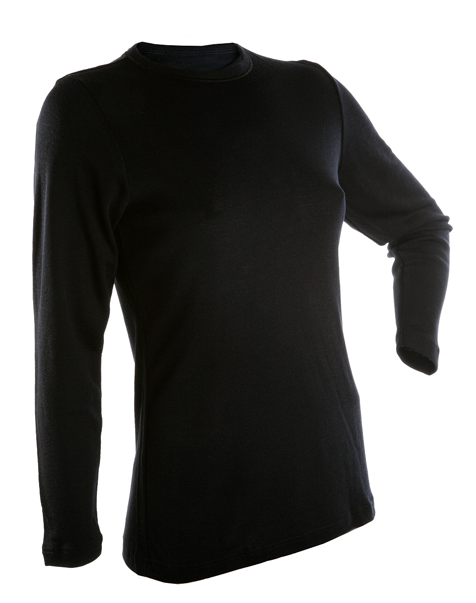Janus BlackWool dam tröja lång ärm 100% merinoull svart