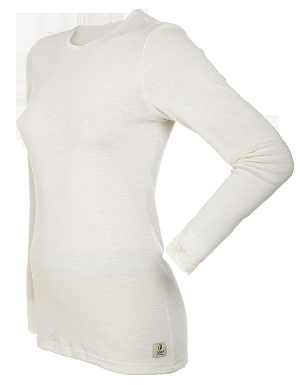 Janus tröja med spets lång ärm 100% merinoull ullvit