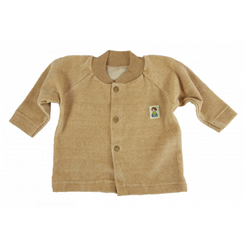 Minimundus tröja med knappar 100% ekologisk bomullsvelour färgväxande Coloured by Nature brun