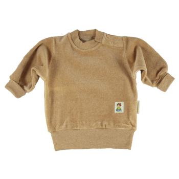 Minimundus collegetröja av 100% ekologisk färgväxande bomullsvelour brun