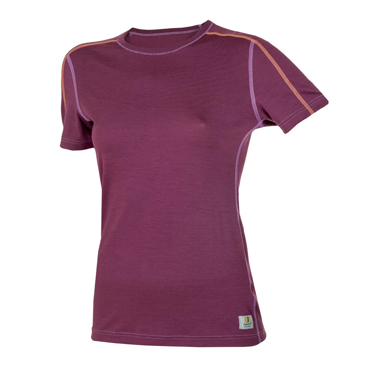 Janus LightWool dam t-shirt 100% merinoull plommonlila