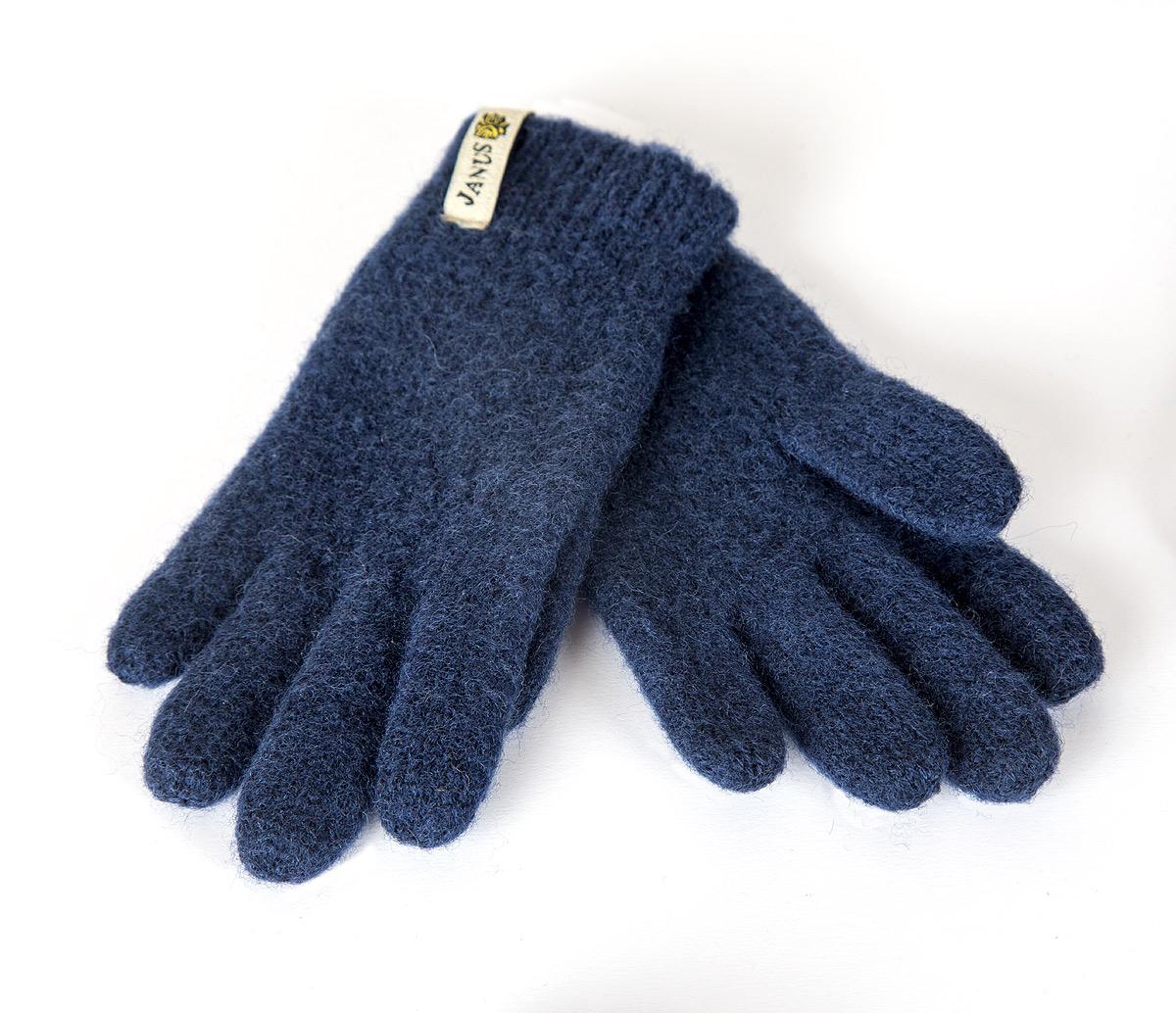 Janus barn fingervante ruggad merinoull mörkblå