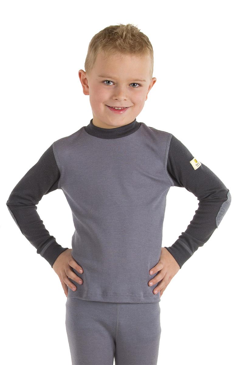 Janus DesighWool junior tröja 100% merinoull grå