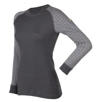 Janus DW dam tröja lång mönstrad ärm grå