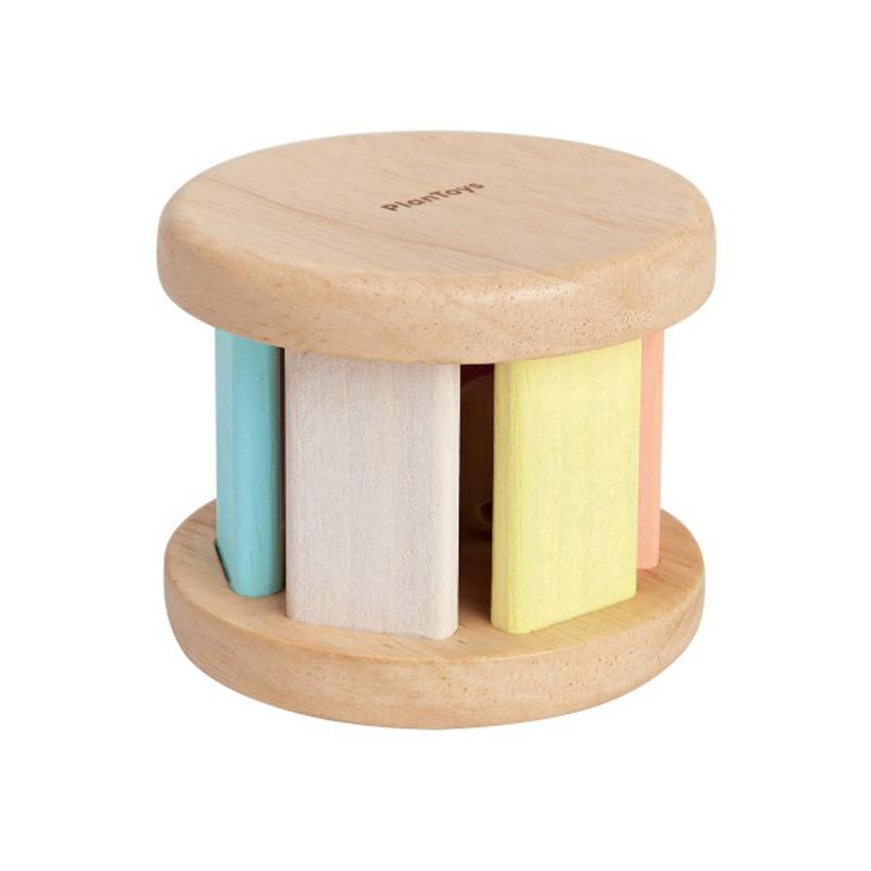 Babyskallra Roller gummiträ pastell PlanToys